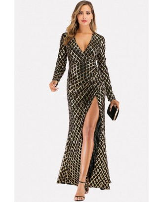 Black Plunging Split Wrap Long Sleeve Sexy Sequin Dresses