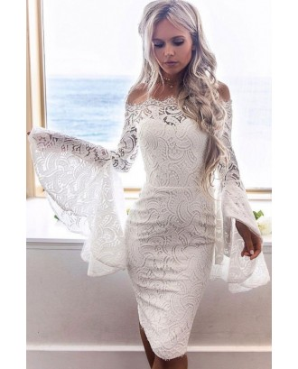 Off Shoulder Hollow Lace Overlay Flare Sleeve Sexy Bodycon Party Dress