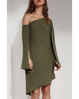 Army Green One Shoulder Asymmetric Slit Long Sleeve Sexy Party Dress