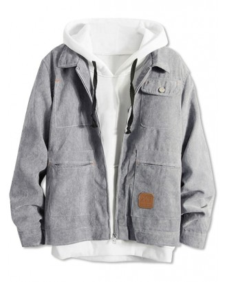 Casual Front Pocket Zip Up Corduroy Jacket - Gray M
