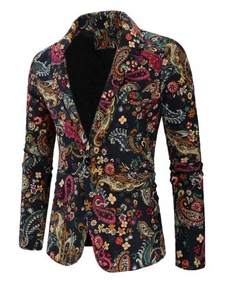 Paisley Floral Tribal Print Single Button Slit Blazer - Multi-b M