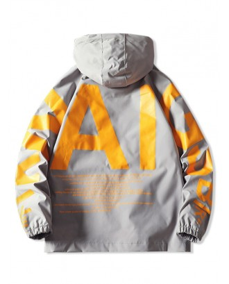 AI Letter Graphic Flap Pocket Raglan Sleeve Hooded Jacket - Gray L