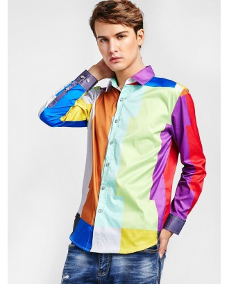Color Block Button Up Shirt - Multi S