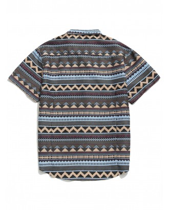 Geometric Graphic Print Button Shirt - Multi L