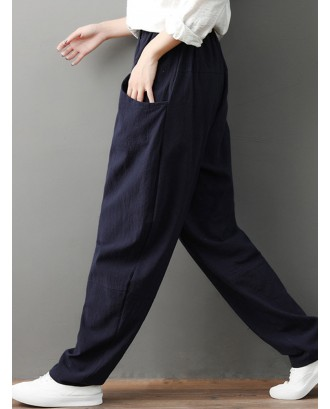 Elastic Waist Pockets Loose Solid Color Casual Pants