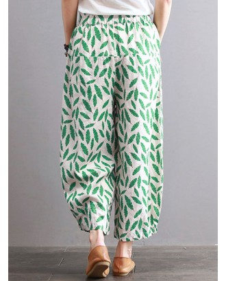 Print Leaves Oversized Pockets Elastic Waist Wide Leg Pants