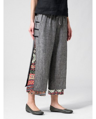 Frog Button Ethnic Print Layered Pants For Women