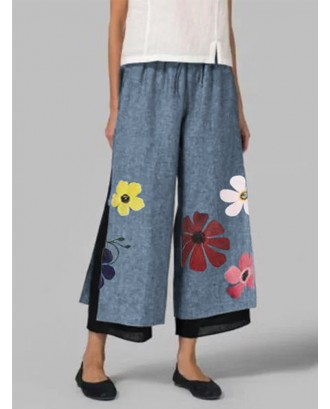 Casual Floral Print Two Layer Elastic Waist Capris